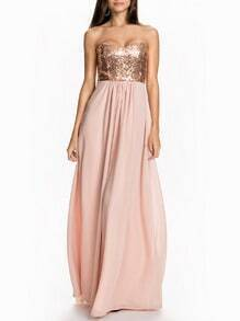 Pink Shantung Hugging Strapless Sequined Glitzy Bandeau Perfect Homecomming Maxi Dress