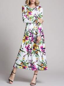 White Long Sleeve Flowery Floral Pastel Dress