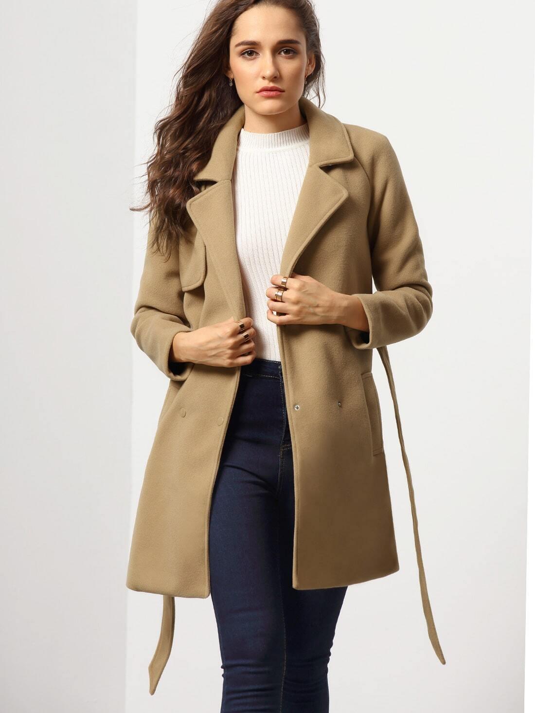 Camel Long Sleeve Lapel Coat