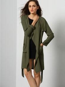 Green Long Sleeve Pockets Trench Coat