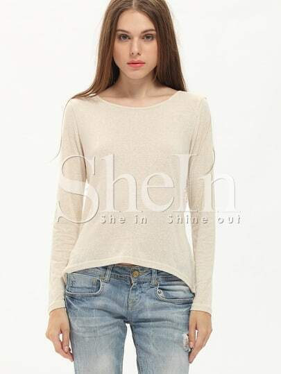Apricot Long Sleeve With Lace T-Shirt
