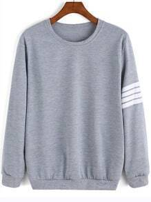 Grey Round Neck Varsity-Striped Sweatshirt