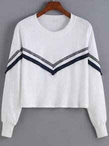 White Round Neck Tribal Print Sweatshirt