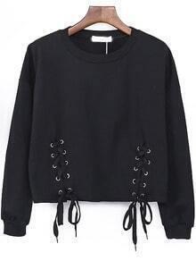 Black Round Neck Lace Up Sweatshirt