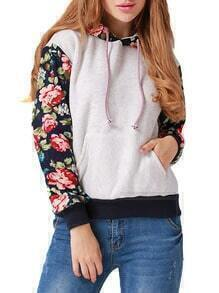 Grey Hooded Drawstring Patterned Florals Sweatshirt
