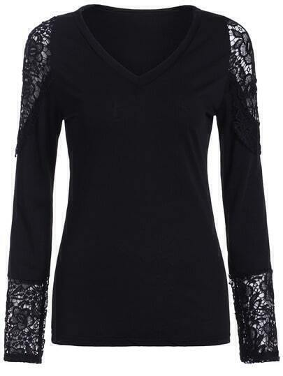 Black V Neck Lace Insert Slim Top