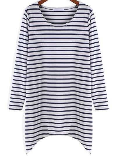 White Blue Long Sleeve Striped T-Shirt