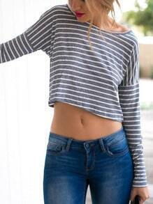 Grey Long Sleeve Striped Crop T-Shirt