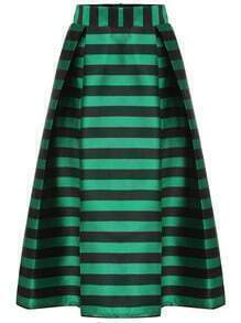 Green Striped Zipper Flare Skirt