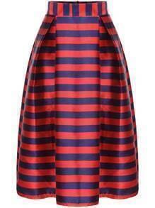 Red Striped Zipper Flare Skirt