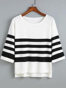 White Dip Hem Striped Sweater