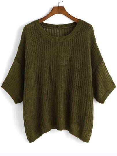 Army Green Half Sleeve Loose Sweater