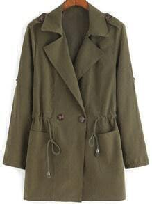 Army Green Lapel Drawstring Pockets Coat