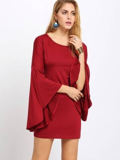 Wine Red Oxblood Kaftans Flutter Bell Sleeve Shift Dress