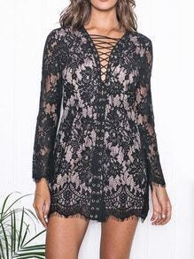 Black Long Sleeve Tie Lace Bodycon Dress