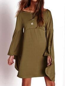 Army Green Flutter Bell Sleeve Shift Dress