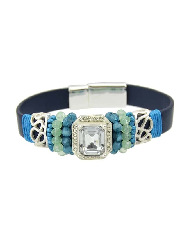 Trends Elegant Chunky Round Blue Gemstone Latest Design Bracelet