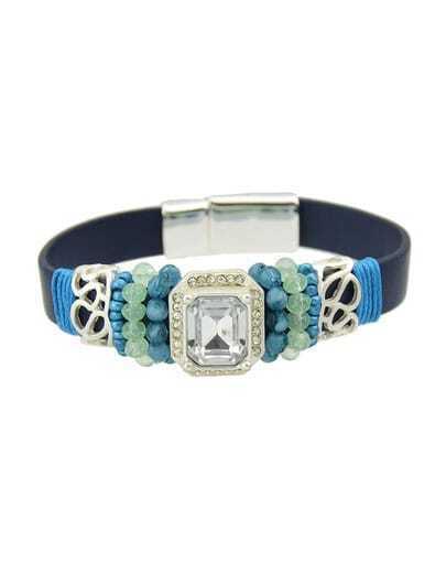 Round Blue Gemstone Bracelet