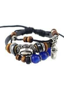 Fashionable Pu Leather Multilayers Adjustable Beads Bracelet for Women
