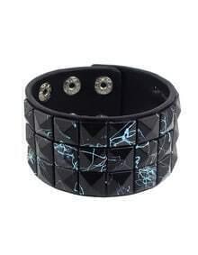 Black Adjustable Wide Leather Wrap Bracelet