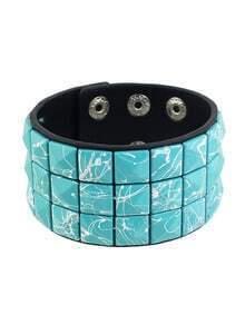 Blue Adjustable Wide Leather Wrap Bracelet