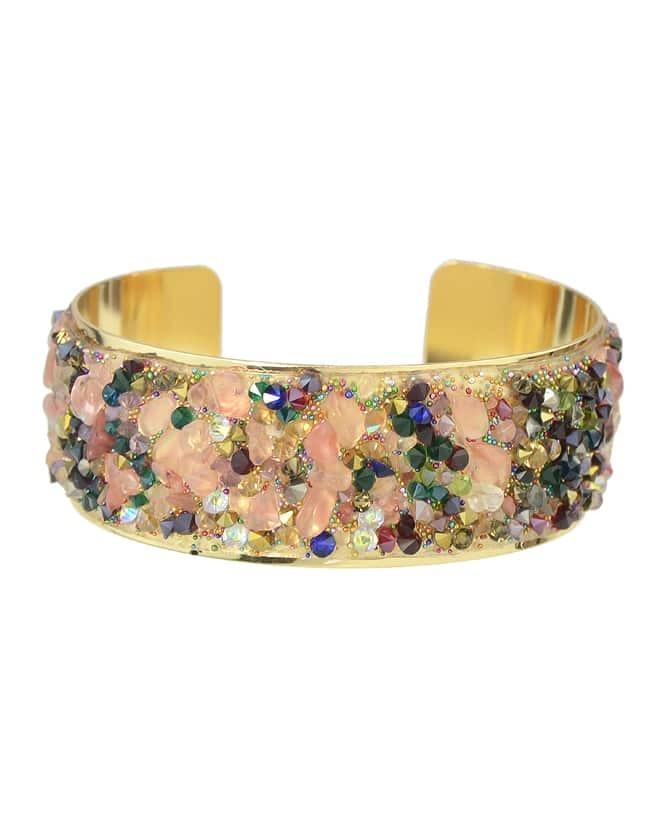 New Fashion Adjustable Colorful Stone Wide Cuff Bracelet