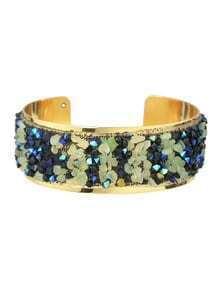 New Fashion Adjustable Blue Stone Wide Cuff Bracelet