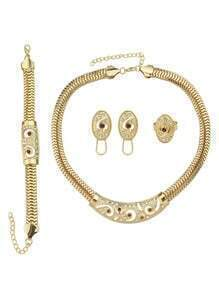 Costume Gold Plated Necklace Earrings Bracelet Rings Fashion Jewelry Set