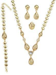 Gold Plated Rhinestone Necklace Earrings Bracelet Rings Jewelry Set for Women