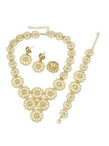 Costume Gold Plated Flower Shape Necklace Earrings Bracelet Rings Fashion Jewelry Set
