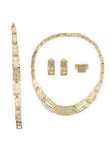 Gold Plated Maze Shape Jewelry Set