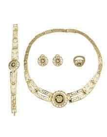 Maze Shape Rhinestone Jewelry Set