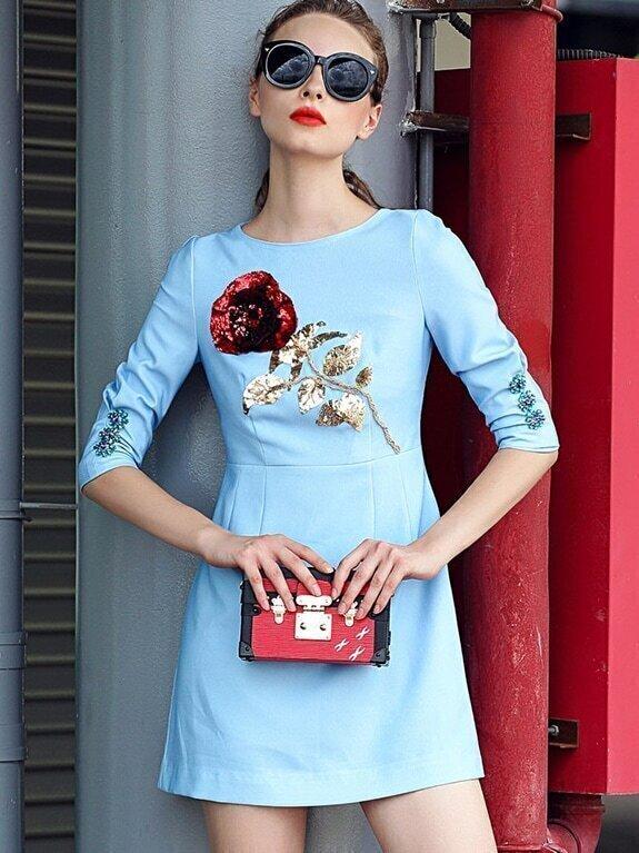 Blue Round Neck Half Sleeve Sequined Dress