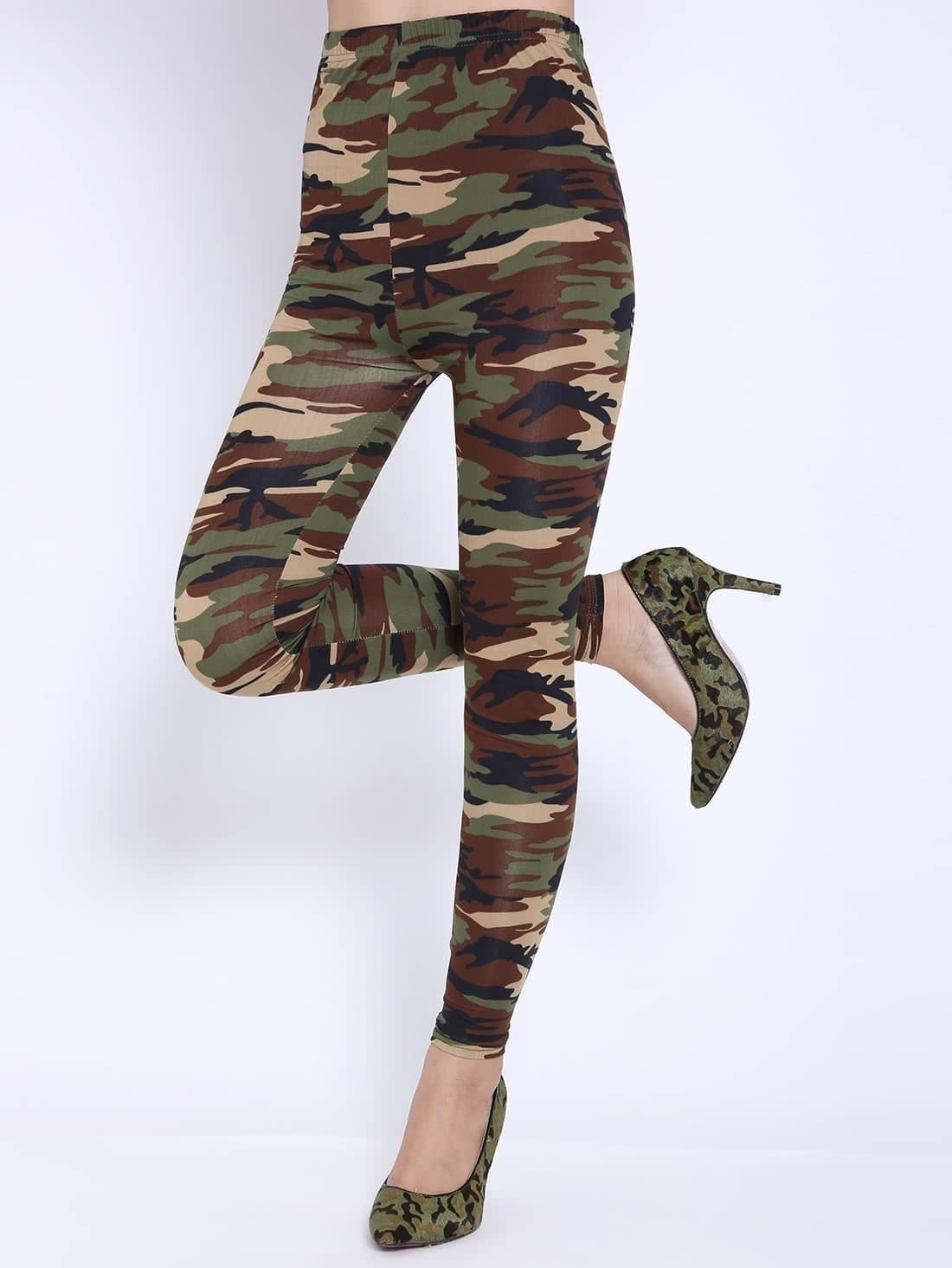 leggings amincissant motif camouflage vert french shein sheinside. Black Bedroom Furniture Sets. Home Design Ideas