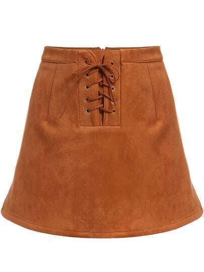 Brown Bandage Flare Skirt