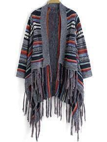 Multicolor Striped Tassel Cape Sweater