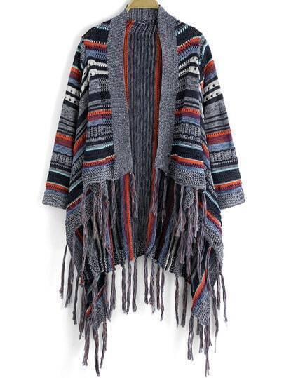 Multicolor Striped Tassel Cape Sweater