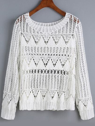 White Round Neck Hollow Floral Crochet Sweater