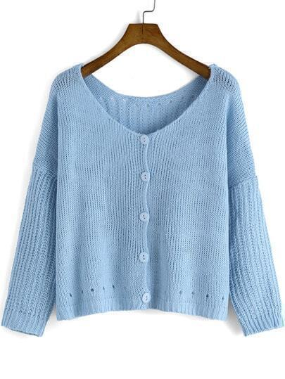 Blue V Neck Buttons Crop Knit Cardigan