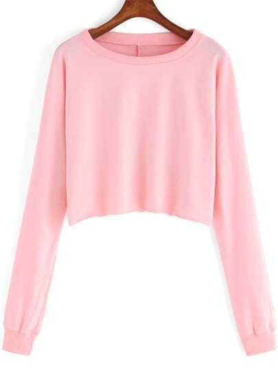 Pink Round Neck Crop Casual Sweatshirt