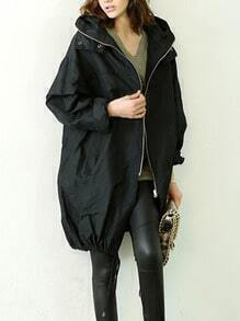 Black Hooded Zipper Loose Casual Trench Coat