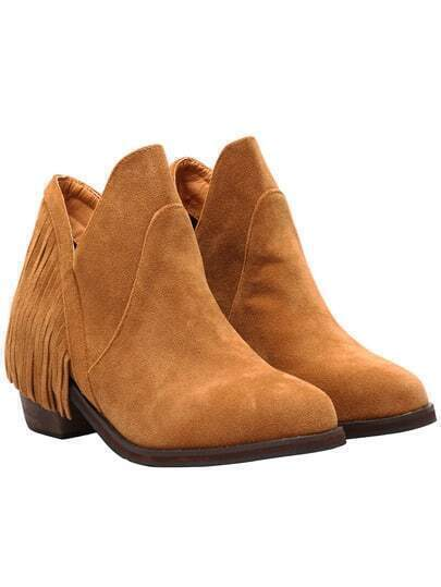 Brown Tassel Round Toe Boots