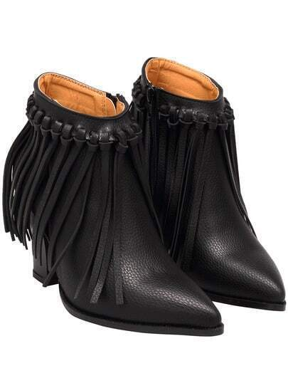 Black Point Toe Tassel PU Boots