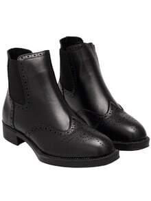 Black Chunky Heel Round Toe PU Boots