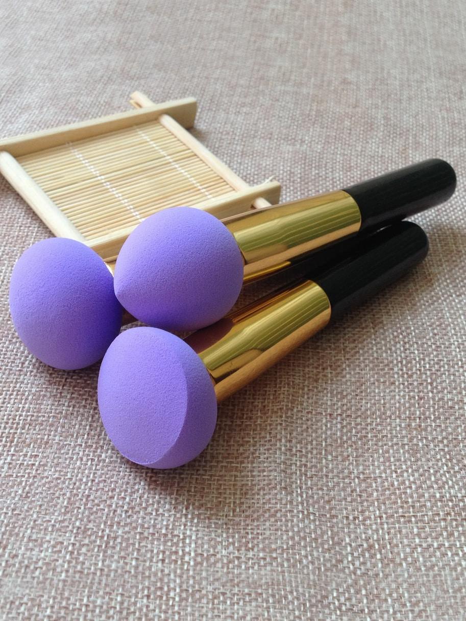 Purple Sponge Brush 3pcs/set Flawless Smooth Shaped Puff beauty150914302