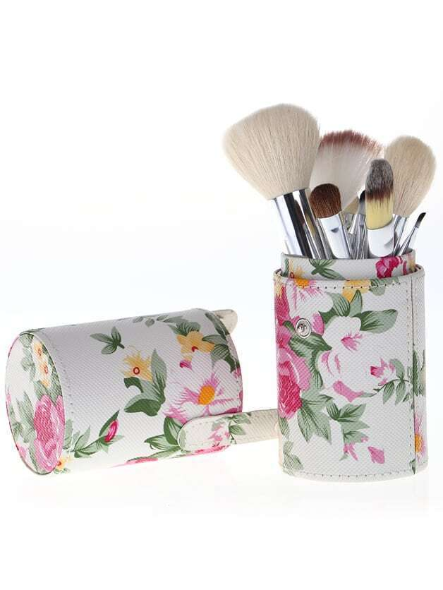Pink 12pcs Wool Makeup Brush Set With Florals Bucket Cylinder