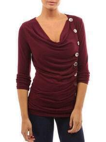 Wine Red Draped Neck Single Breasted T-Shirt
