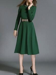 Green Long Sleeve Superb Easter Custom Diamond Belt Dress