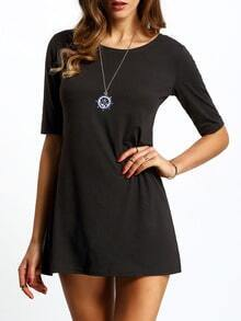 Black Half Sleeve Straight Dress