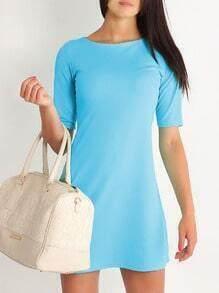 Blue Periwinkle Half Sleeve Elbow Sleeve Straight Dress